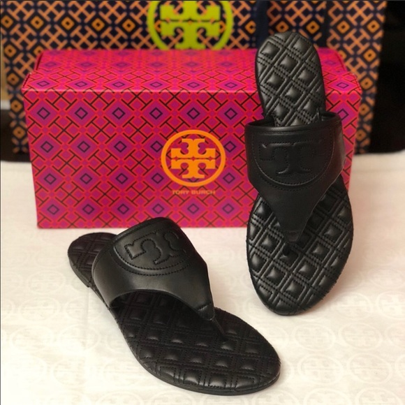 645966eab Tory Burch Fleming Quilted Flat Thong Sandals.